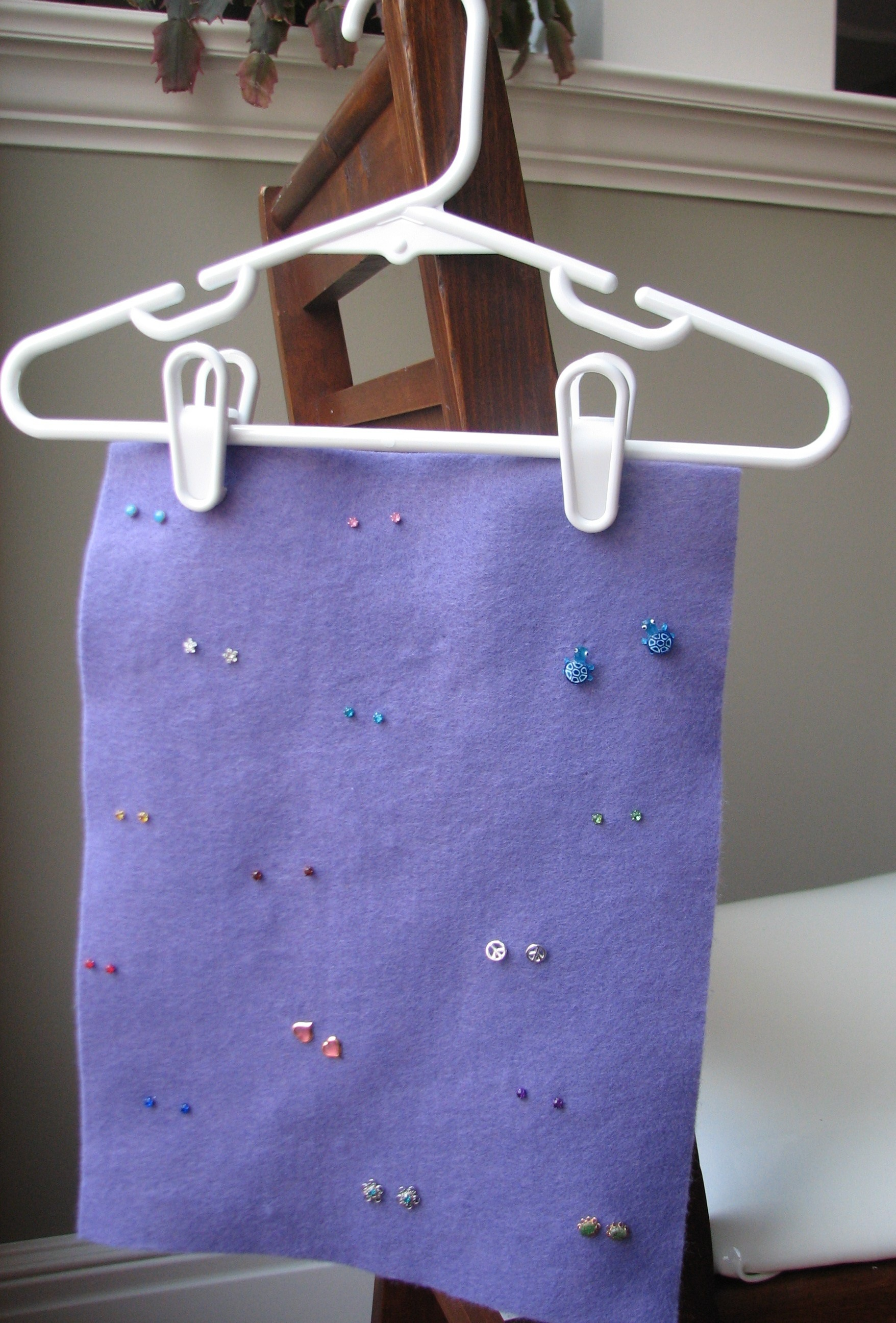 Got A Pants Hanger Or Hanger With Clips? A 34 Cent Piece Of Felt? Voila!  It Is A Cinch To Take Studs